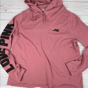 Pink Hoodie Sweatshirt Pink Embroidered Accent Lrg